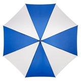 Werberegenschirm Blau Weiß