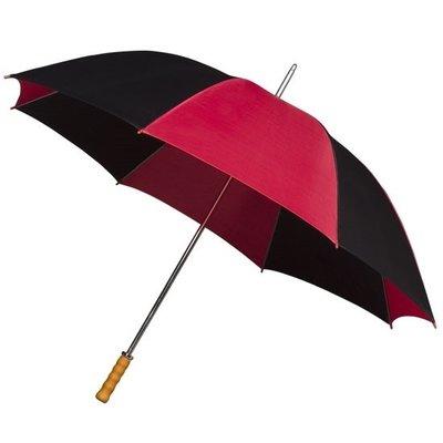 Golfregenschirm mit Holzgriff, Bordeaux/schwarz