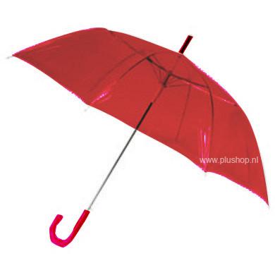 Durchsichtiger Stockregenschirm Rot