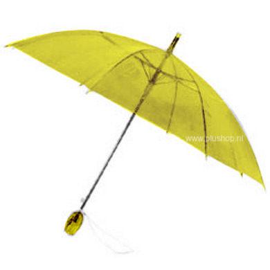 Durchsichtiger Stockregenschirm Tulpe - Gelb