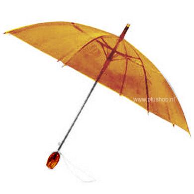 Durchsichtiger Stockregenschirm Tulpe - Orange