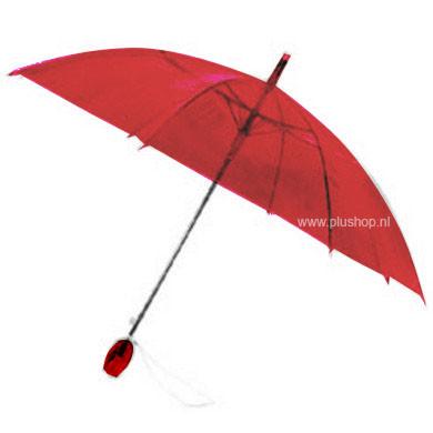 Durchsichtiger Stockregenschirm Tulpe - Rot