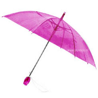 Durchsichtiger Stockregenschirm Tulpe - Rosa