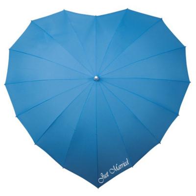 Herz Regenschirm Hell Blau Bedrucken