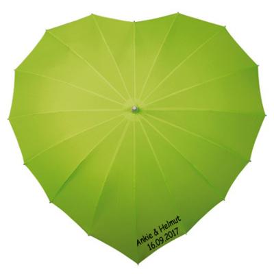 Herz Regenschirm Grün Bedrucken