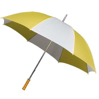 Portier/Golfschirm - Holzgriff - Gelb/Weiß