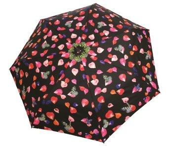 Taschenregenschirm bunt schwarz