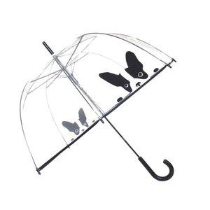 durchsichtiger Regenschirm Hund