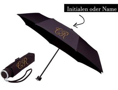 Bedruckter Regenschirm mit Initialen oder Name (Taschenregenschirm)