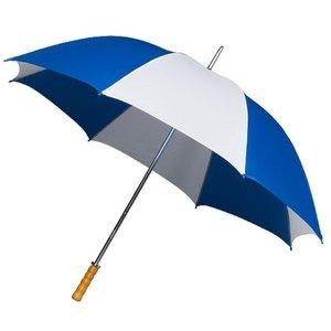 Portier/Golfschirm, Holzgriff, blau/weiß