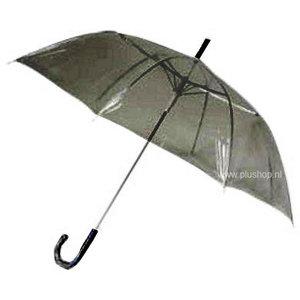 Durchsichtiger Stockregenschirm Schwarz