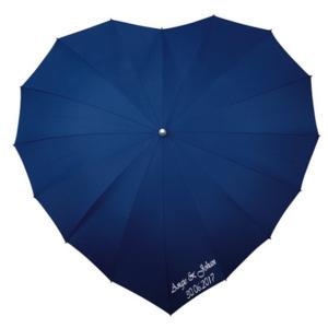 Herz Regenschirm Dunkel Blau Bedrucken