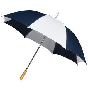 Portier- Golfschirm - Holzgriff - Dunkelblau/weiß