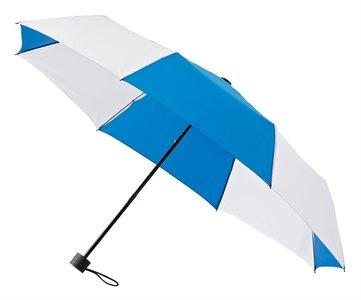 Taschenregenschirm blau weiss
