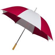 Portier/Golfschirm, Holzgriff, rot/weiß